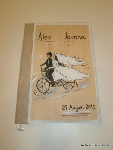 Hand-painted Wooden Wedding Wish Books.