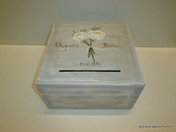 Hand-painted Wooden Wedding Wish Box.