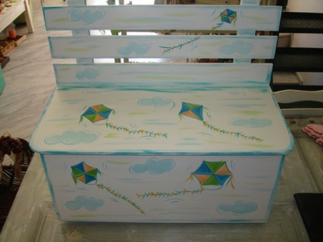 Hand-painted Wooden Bench Boxes