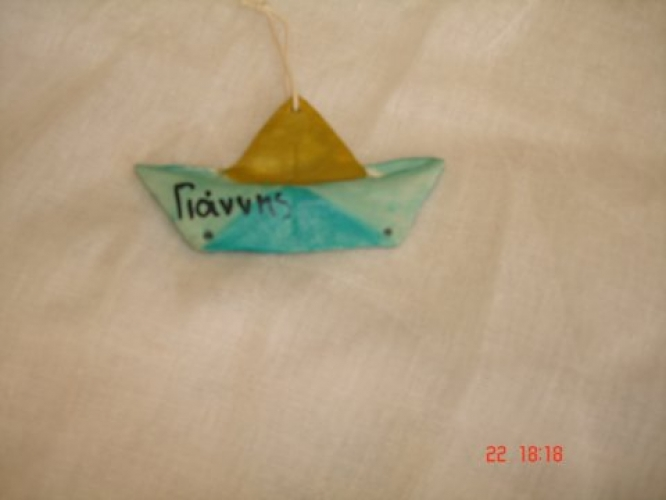 Hand-painted Ceramic Boat for Christening favors.