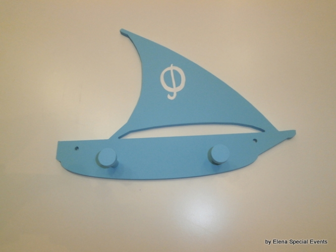 "Hand-painted wooden hanger ""sail boat""."