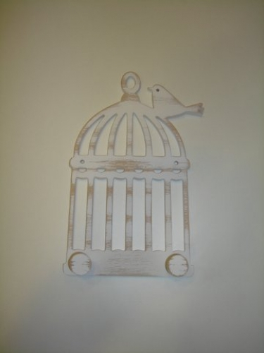 "Hand-painted wooden hanger ""cage""."