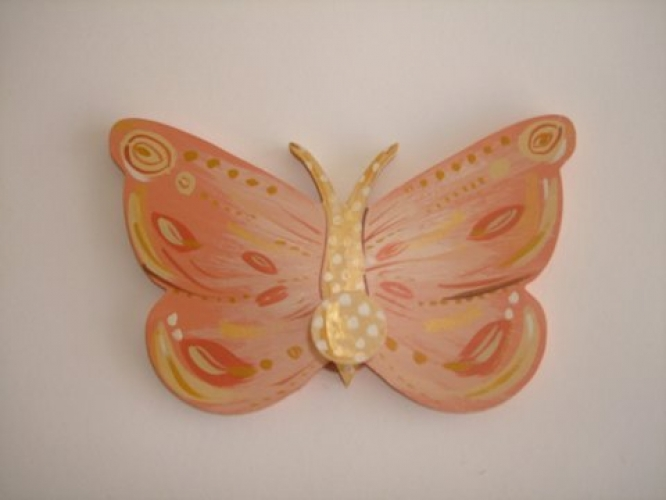 "Hand-painted wooden hanger ""butterfly""."