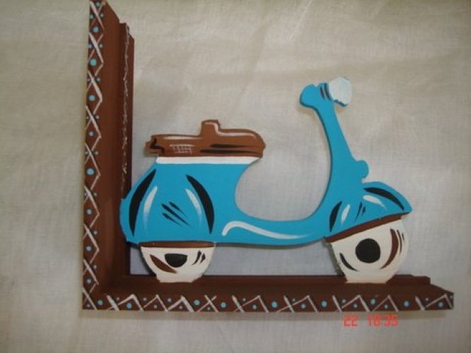"Hand-painted wooden book stand ""scooter""."