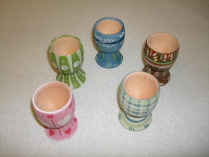 Hand-painted wooden egg cup.