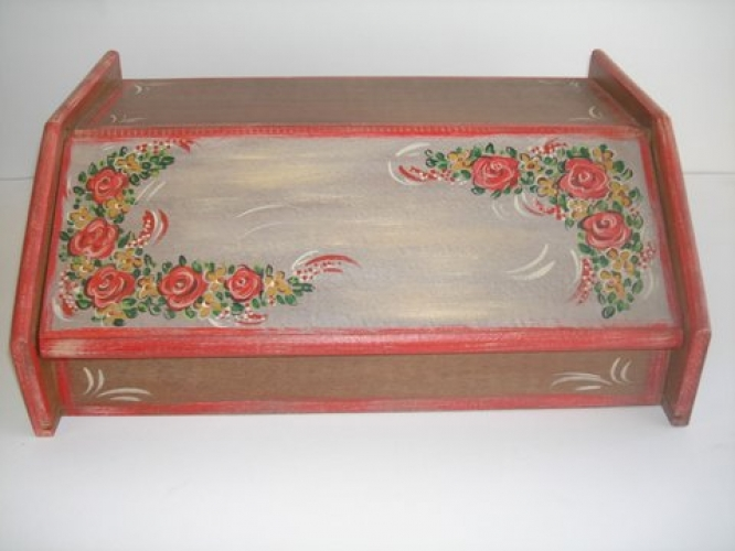 Hand-painted Wooden Bread Case.