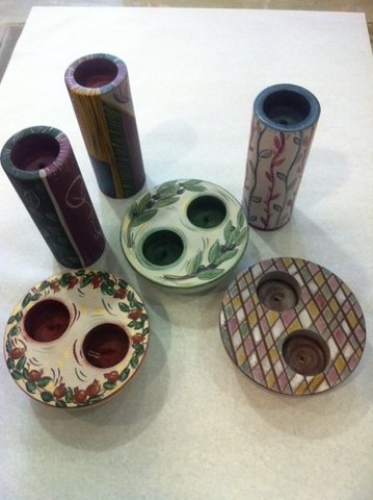 Hand-painted wooden candlesticks.