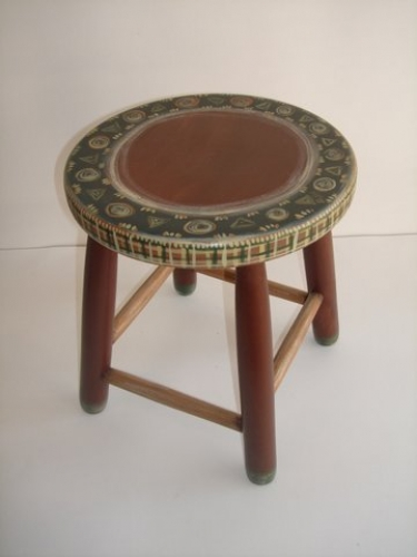 Hand-painted wooden stool.
