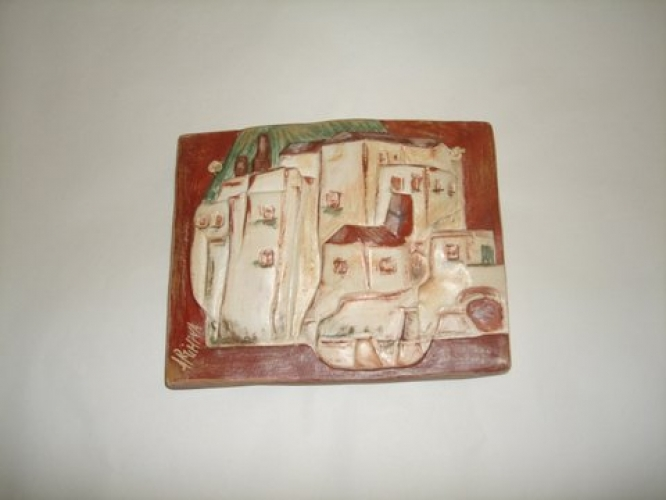 Hand Painted Ceramic Plate Village
