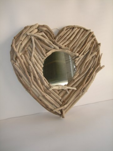 Hand made Sea Wood & Cedar Wood Mirror Heart.