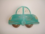 "Hand-painted wooden hanger ""car""."
