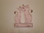 "Hand-painted wooden hanger ""cats""."