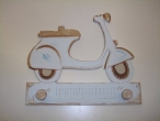 "Hand-painted wooden hanger ""scooter""."